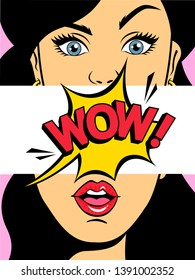 Surprised sexy woman. Beautiful girl with opened mouth saying wow. Flat  illustration