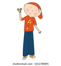 Surprised teenage boy standing and holding fidget spinner - original hand drawn illustration