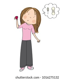 Surprised teenage girl or young woman standing and holding menstrual cup wondering whether it is better than menstrual tampons or pads - original hand drawn illustration