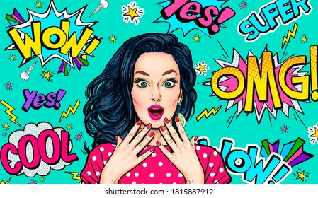 Surprised  woman on Pop art  background . Advertising poster or party invitation with sexy club girl with open mouth in comic style. Presenting your product. Expressive facial expressions