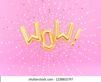 Surprised Wow exclamation golden foil balloon letters phrase on pink background. 3d rendering