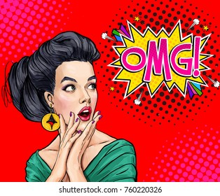 Surprised young sexy woman with open mouth in comic style. Amazed lady saying OMG. Pop Art girl with shocked face.