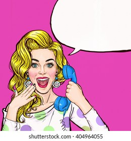 Surprised young sexy woman shouting/yelling on retro telephone.Advertising poster of  gossip girl with red cheeks and wow face