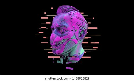 Surreal 3d illustration of cyborg head in a futuristic scary mask with teeth. Artificial face with damaged neck. Sci-fi character creative soldier concept art. Cyberpunk robot man on black background