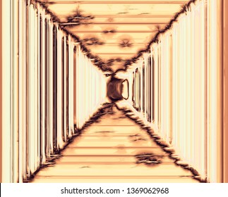 A surreal abstract structure of the tunnel corridor. Background for art projects, business, banner, template, map. 3D illustration