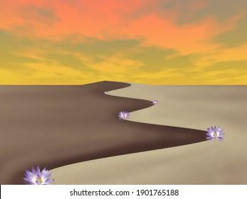 L'art surréaliste. Le désert des rêves. Rendu 3D