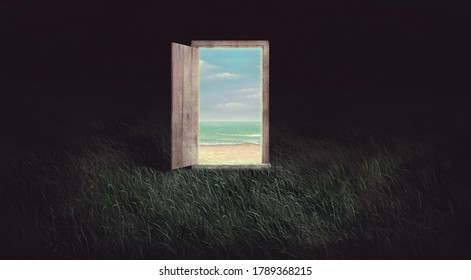 Surreal art of freedom dream mystery and hope concept idea ,magic door to sea imagination artwork, painting illustration, happiness of nature,fantasy conceptual