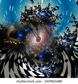 Surreal art. Wonder Worlds. Clock hands, chess and endless dimensions. 3D rendering