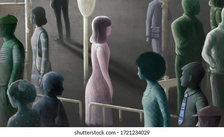 Surreal artwork. alone loneliness depression and sad concept. lonely young woman with a crowd in the city