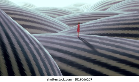 Surreal artwork of lonely woman, painting art, conceptual illustration, alone lonely hope solitude and loneliness concept, imagination of fantasy landscape , dreamlike