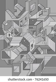 surreal background endless stairs