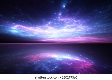 Surreal blue sunset reflected on alien waters