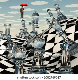 Surreal Chess Landscape and hovering man with red umbrella. 3D rendering