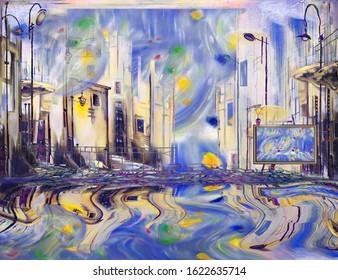 Surreal city workshop. Surreal artwork.