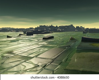 surreal cityscape with strange water patterns