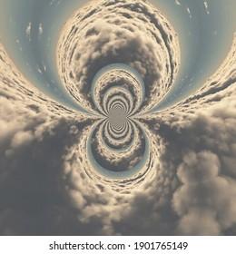 Des nuages surréels fractaux. Rendu 3D