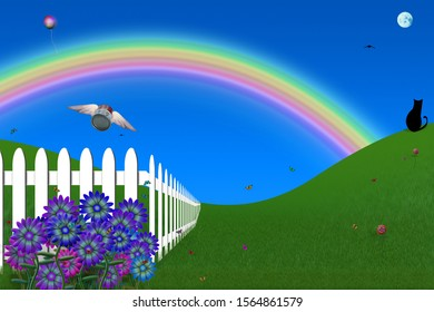Surreal composition. Absurd backyard with white fence, winged can of soup, black cat. 3D rendering