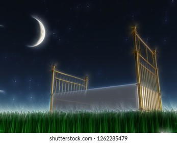 Surreal composition. Bed outside under the stars. 3D rendering