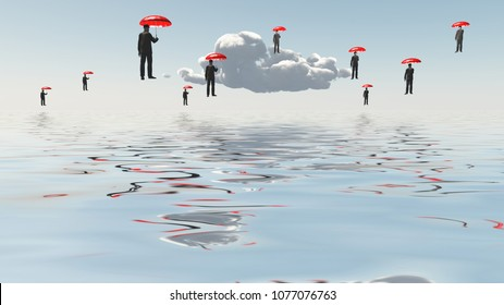 Surreal composition. Floating Men with Umbrellas above water. 3D rendering