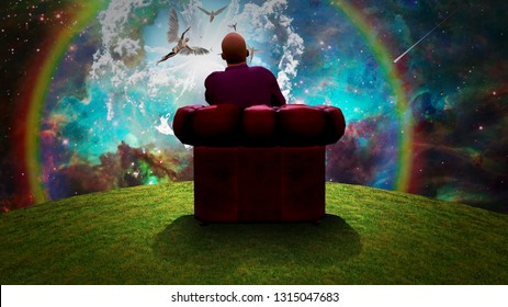 Surreal composition. Man sits in red armchair and observes angels  in vivid sky. 3D rendering