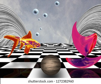 Surreal composition. Pink matter on chessboard, sphere and golden fish. 3D rendering