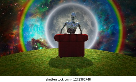 Surreal composition. Rusted alien sits in red armchair and observer bright moon in vivid universe. 3D rendering