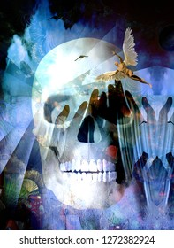 Surreal compositon.Winged Angel and Death Skull. 3D rendering