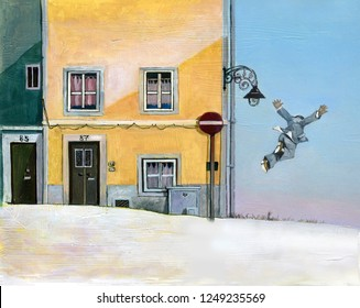 surreal concept of desire of freedom a man seems flying near next  faades of sunny houses  art style, illustration painting