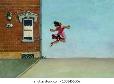 surreal concept of desire of freedom a woman seems flying near next  facades of  houses  art style, surreal illustration acrylic paintingpainting