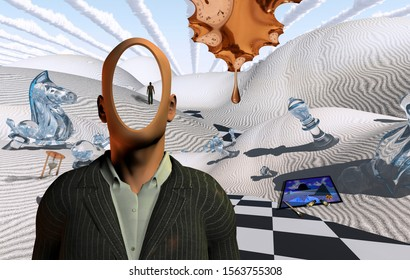 Surreal desert with chess figures and hourglass. Faceless man in suit. Figure of man in a distance. Painting, brush and dyes. Melted clock. 3D rendering