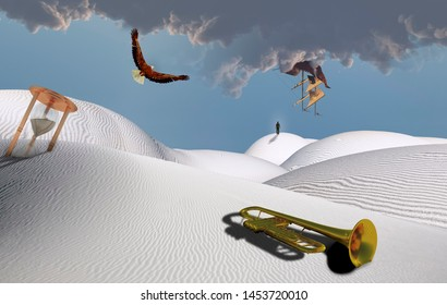 Surreal desert with hourglass and trumpet. Ancient ship and eagle in the sky. Figure of man in a distance. 3D rendering