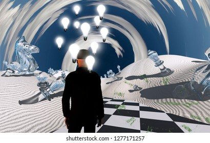 Surreal desert. Man in suit stands on checkered road with chess pieces. Light bulbs represents ideas. 3D rendering