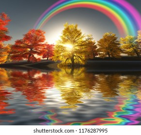 Surreal digital art. Autumn landscape. Trees on a shore. Sunset. Rainbow in the sky. 3D rendering