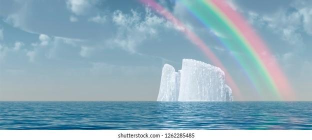 Surreal digital art. Big iceberg floats in quiet ocean. Rainbow in the cloudy sky. 3D rendering