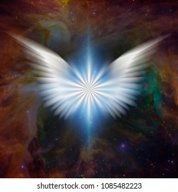 Surreal digital art. Bright star with white angel's wings in vivid colorful universe. 3D rendering