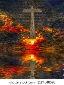 Surreal digital art. Christian wooden cross above water surface. Vivid subset. Latin text. 3D rendering