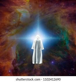 Surreal digital art. Figure of man in white cloak stands before bright star. 3D rendering