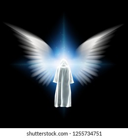 Surreal digital art. Figure in white cloak stands before bright light with angel wings. 3D rendering