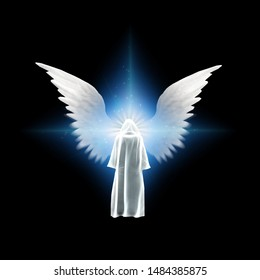 Surreal digital art. Figure in white cloak stands before bright light with angel's wings. 3D rendering