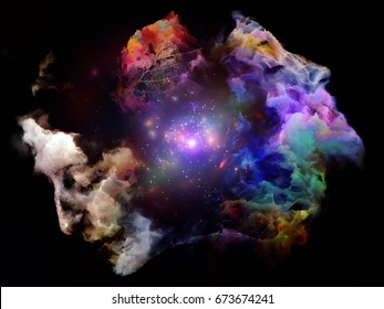 Surreal digital art of human heads with stars, leaf and lights on the subject of mental life, dreams, memory, consciousness, creativity and imagination.