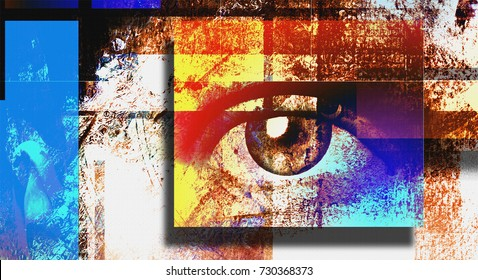 Surreal digital art. Human's eye. Mondrian style.  3D rendering