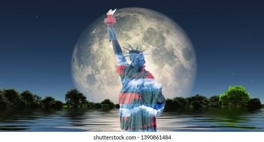 Surreal digital art. Liberty statue in national colors. Green forest in the water. Giant moon at the horizon. 3D rendering