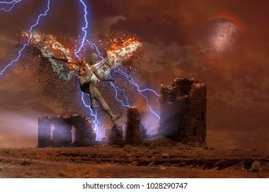 Surreal digital art. Lightning strikes spooky ruins. Naked man with burning wings symbolizes fallen angel. 3D rendering