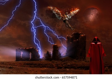 Surreal digital art. Lightning strikes spooky ruins. Figure of man in red cloak. Naked man with burning wings symbolizes fallen angel.  3D rendering  Some elements provided courtesy of NASA