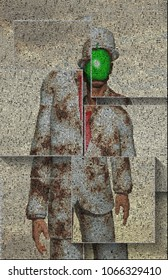 Surreal digital art. Man in white suit with green apple instead of face. Rene Magritte style. Picture is composed entirely of the words. 3D rendering