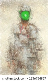 Surreal digital art. Man in white corroded suit with green apple instead of face. Rene Magritte style. 3D rendering