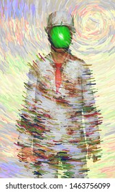 Surreal digital art. Man in white corroded suit with green apple instead of face. Rene Magritte inspired. 3D rendering