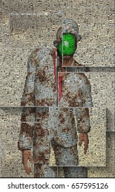 Surreal digital art. Man in white suit with green apple instead of face. Rene Magritte style. Picture is composed entirely of words.  3D rendering