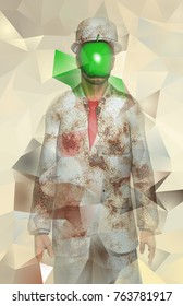 Surreal digital art. Man in white corroded suit with green apple instead of face. Rene Magritte style. 3D rendering.