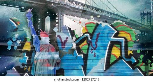 Surreal digital art. Manhattan bridge and Liberty statue. Pieces of graffiti. 3D rendering